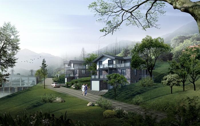 某现代中式山体别墅建筑景观设计psd效果图[原创]图片