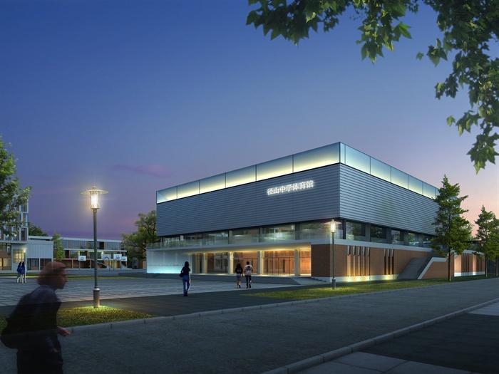 某中学学校体育馆建筑设计psd效果图