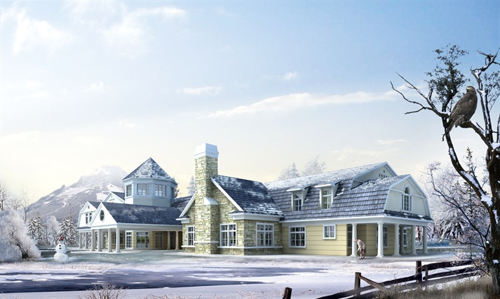 欧式风格别墅建筑设计psd雪景效果图[原创]