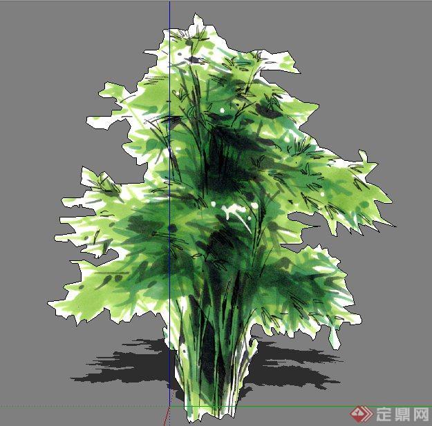 6株手绘风景观植物su模型素材