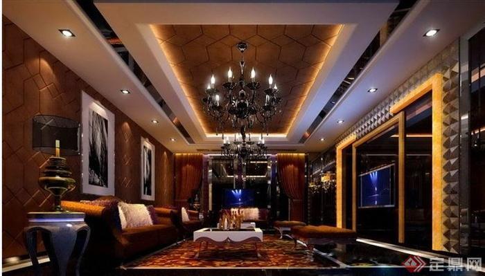 某现代KTV包房室内设计方案图(含效果图)(1)