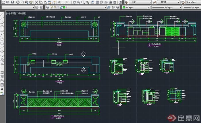 宾馆前台装饰设计CAD施工图