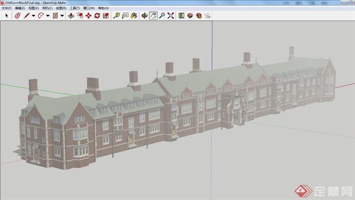 一栋欧式老宿舍楼建筑设计su模型