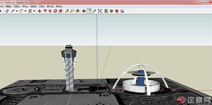 两款美式铁路信号塔设计su模型