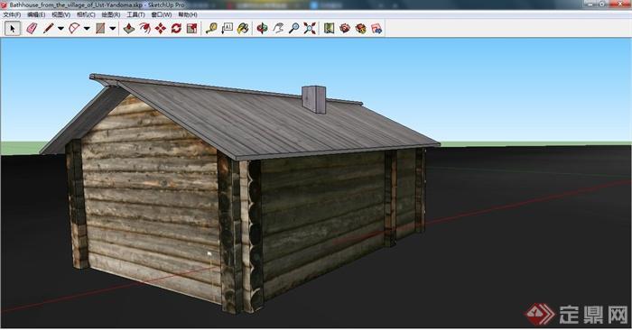 一间澡堂小木屋建筑设计su模型(2)