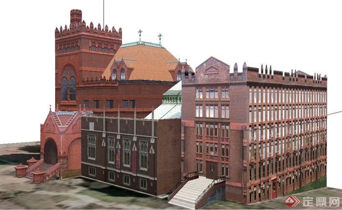 国外某学校图书馆建筑设计su模型(2)