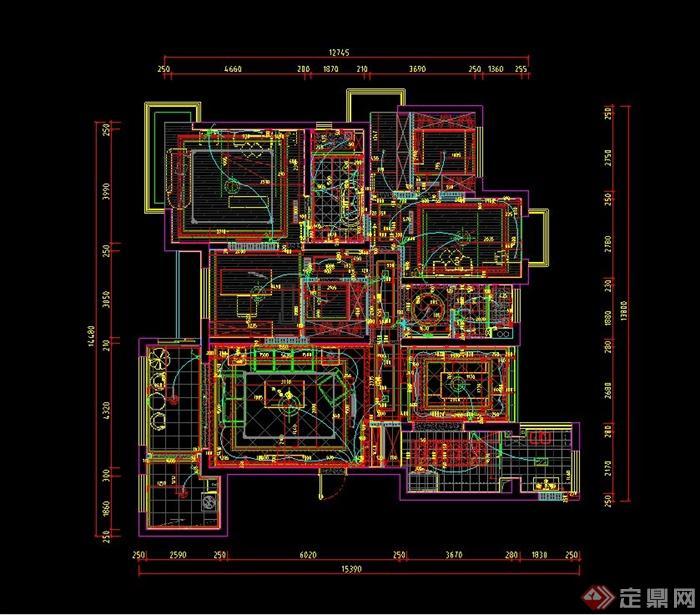 某两室两厅欧式装修风格样板房设计cad施工图与jpg