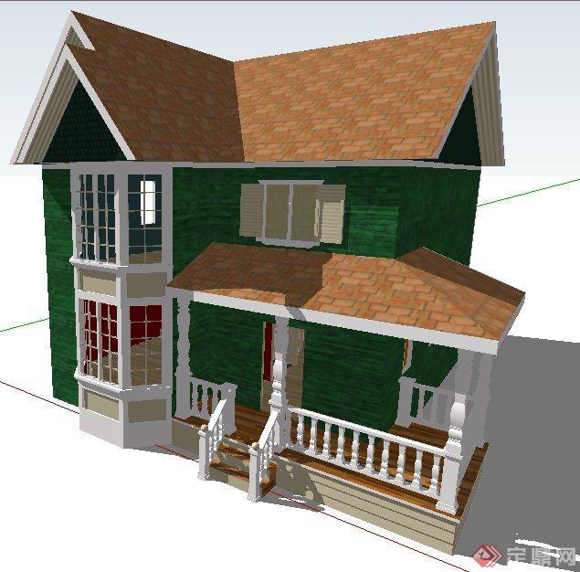 欧式风格二层小别墅建筑设计su模型