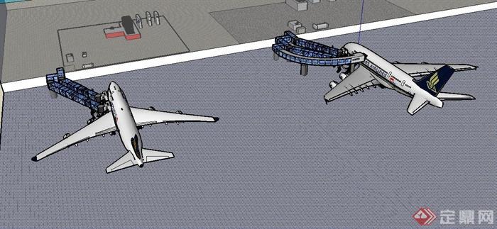 两架飞机和登机口设计su模型