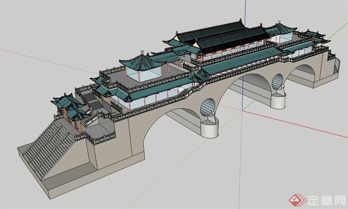 某古中式城墙楼建筑设计su模型