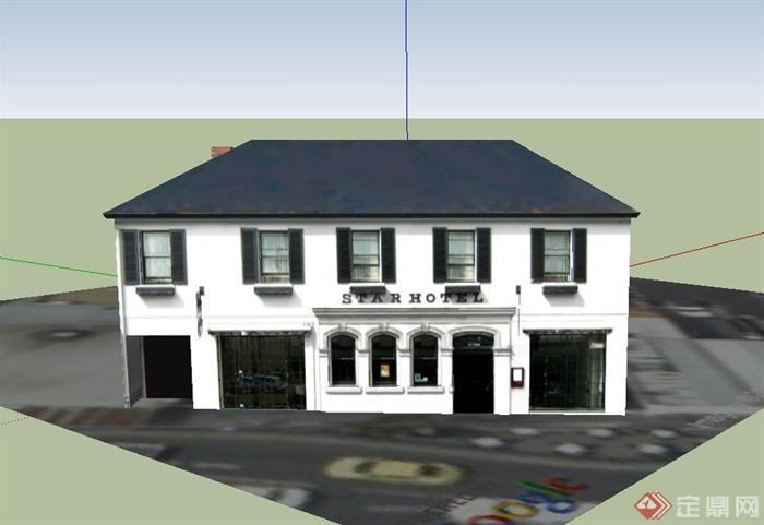 某欧式两层城镇商业建筑设计su模型