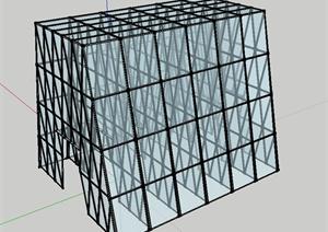 一栋玻璃房建筑设计SU(草图大师)模型