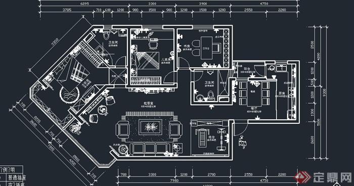 某两室两厅住宅空间欧式家装设计cad施工图与jpg效果