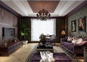新古典风格住宅客餐厅室内设计3dmax模型(含效果图)