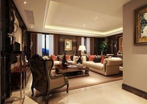 某新古典风格客厅室内设计3dmax模型(含效果图)
