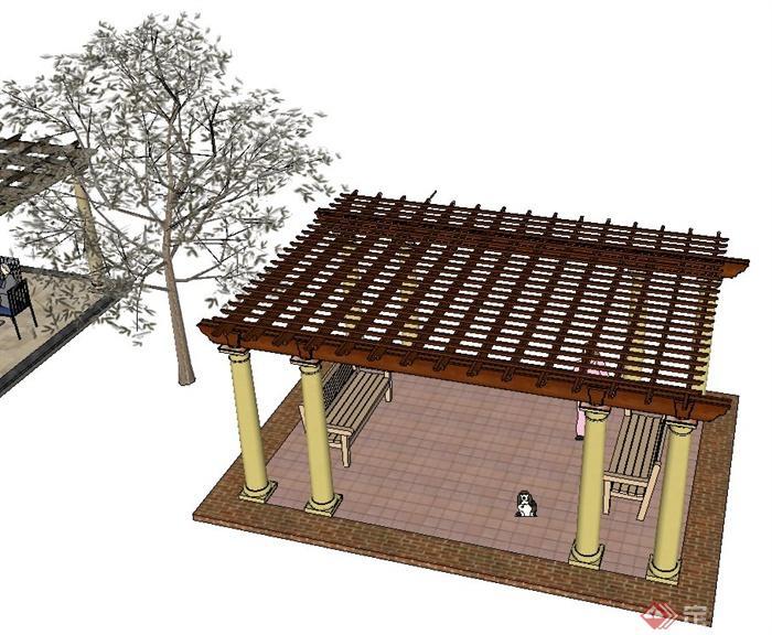 六种廊架花架设计SU模型