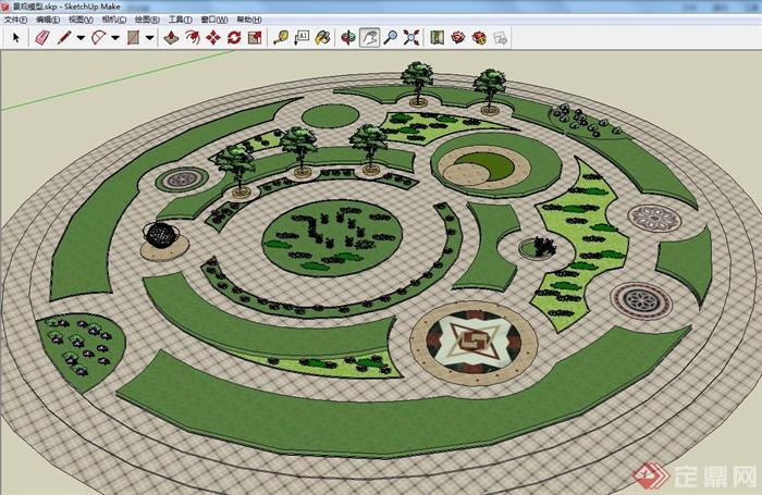 某圆形花园景观设计su模型(附cad平面图)[原创]