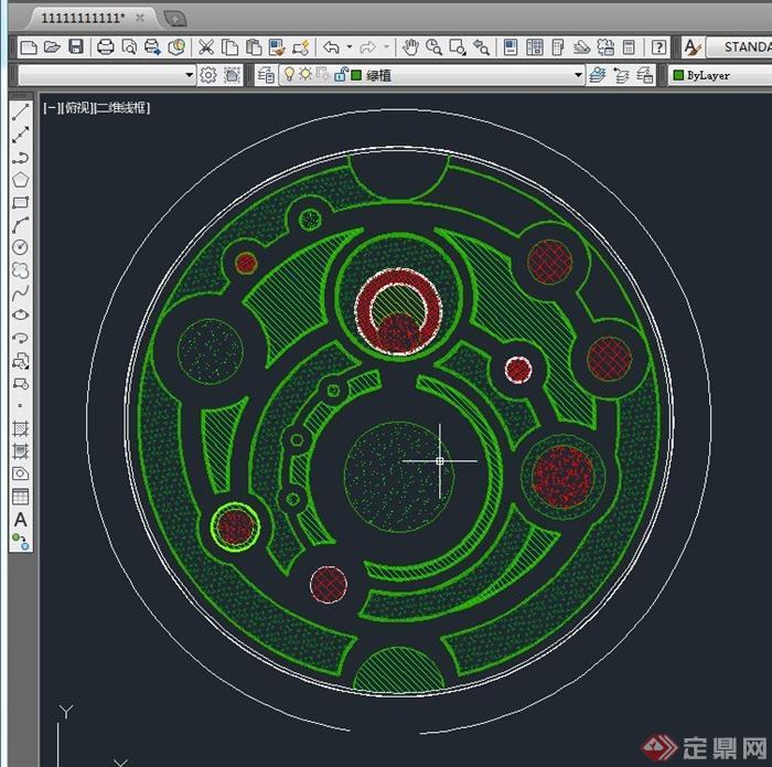 某圆形花园景观设计su模型(附cad平面图)(3)