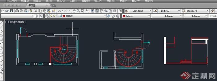 建筑室内旋转楼梯设计su模型(附cad平面图)[原创]