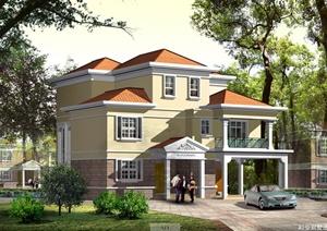 某二层半现代别墅建筑设计施工图(含效果图)
