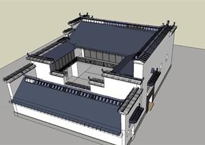 某古典中式?#24352;?#22235;合院住宅建筑设计SU模型