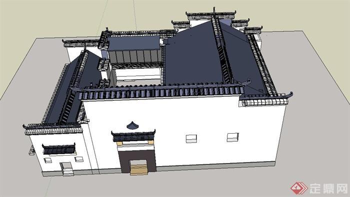 某古典中式徽派四合院住宅建筑设计SU模型(2)