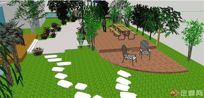 某别墅庭院景观设计su模型