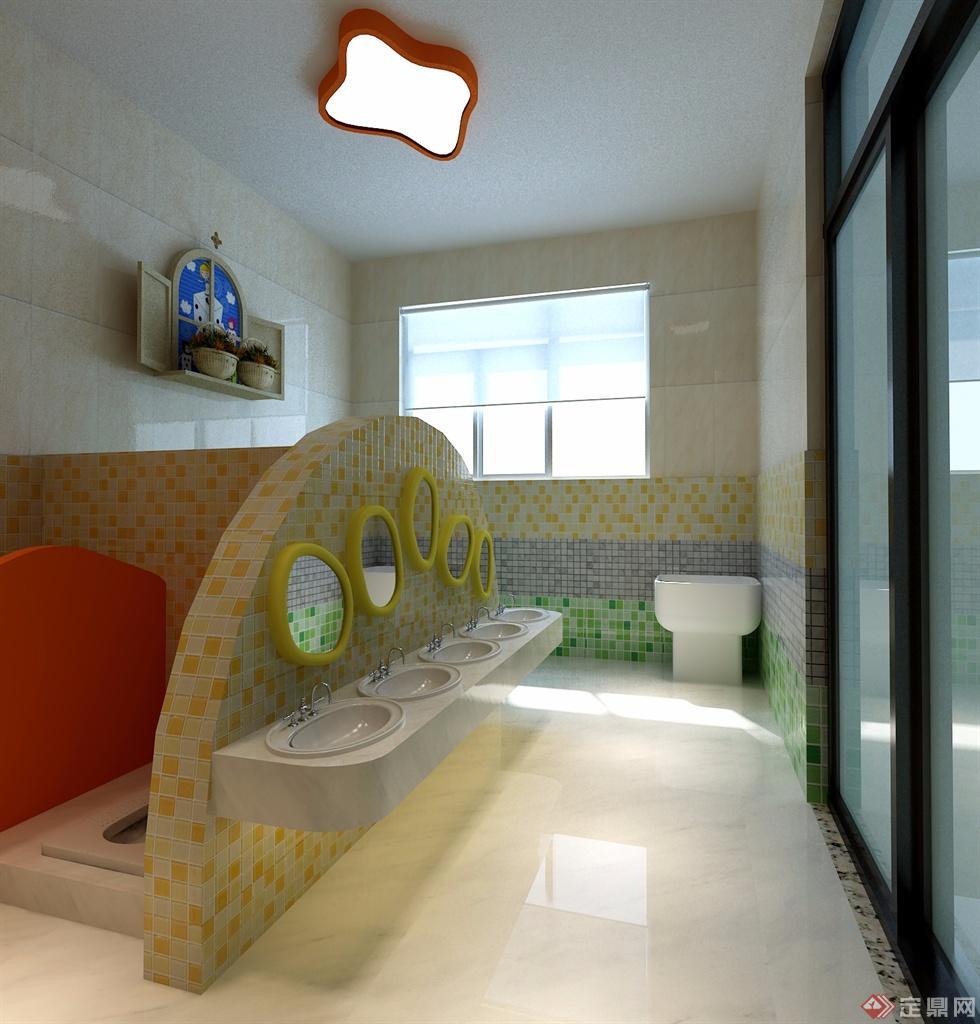 幼儿园厕所装修效果图-三维效果图制作