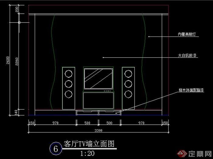 现代风格电视柜背景墙cad立面图