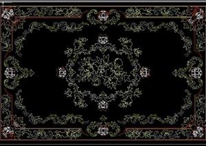 室内装饰花纹地毯cad平面样式