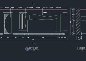 客厅电视背景墙设计CAD立剖面图