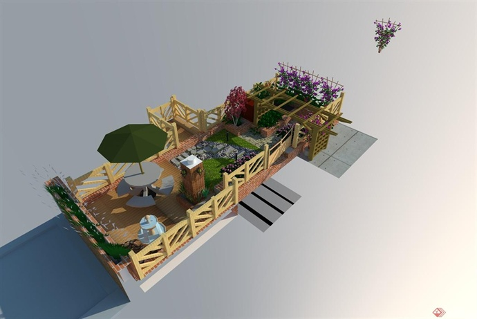 洋房屋顶花园效果图
