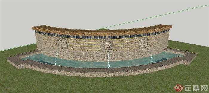 某景观节点弧形景墙喷泉设计su模型(1)图片