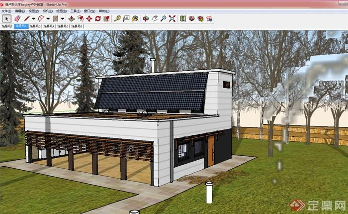 某欧式风格大学户外教室建筑设计su模型