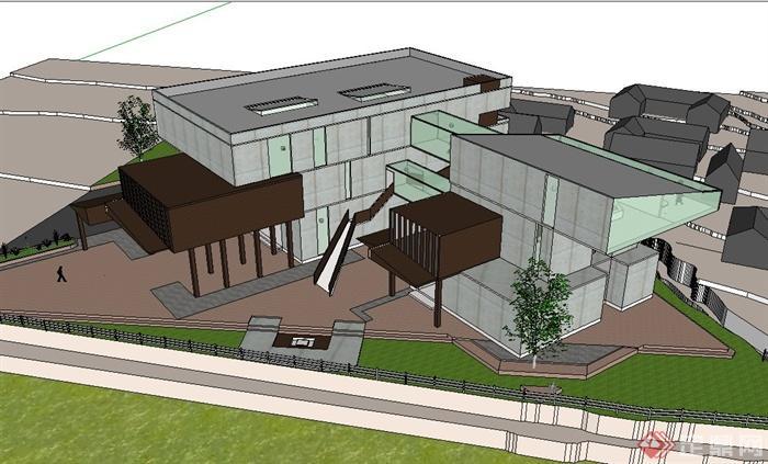 恩施民俗文化展览馆建筑设计su模型