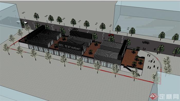 某集装箱创意美食商业街建筑设计su模型[原创]