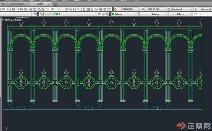 某欧式栏杆设计cad立面图