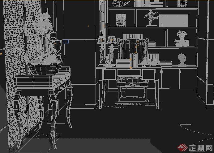 现代风格住宅书房室内设计3dmax模型