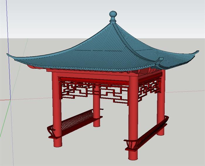 古典中式四角凉亭su模型