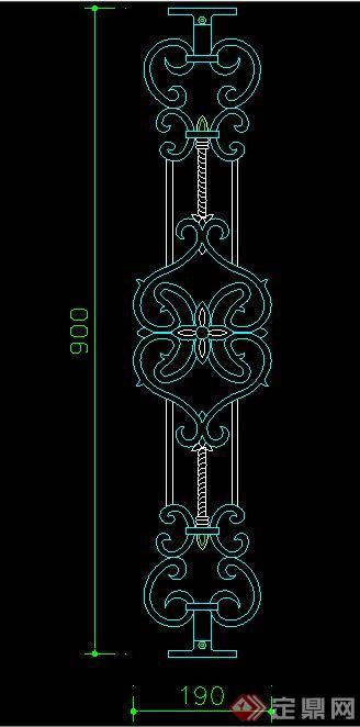 欧式风格铁艺栏杆节点立面图