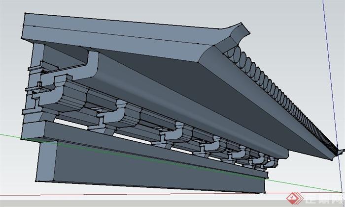 中式风格屋檐su模型