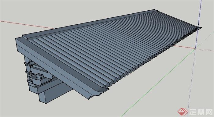 中式风格屋檐su模型(2)图片