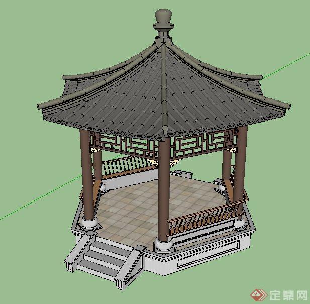 中式六角亭设计su模型