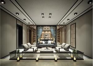 现代某别墅室内客厅与主卧设计3DMAX模型+CAD施工图+PSD效果图