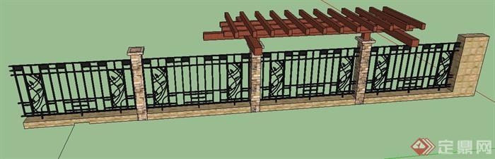 园林景观现代风格铁艺围墙及花架组合su模型