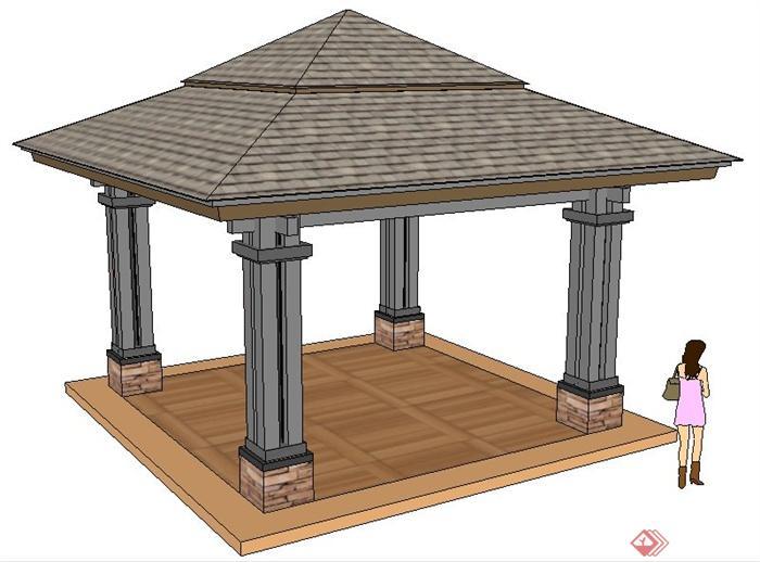 园林景观中式方形亭su模型