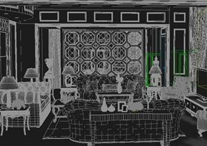 别墅新古典客厅室内设计3dmax模型