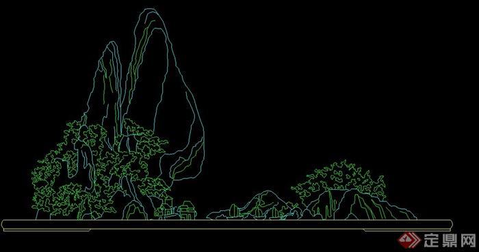 中式园林天花餐厅cad立面图cad布置图假山景观图片