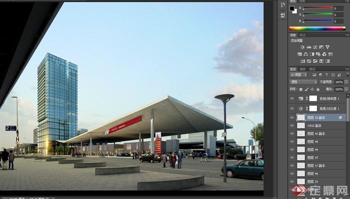 某现代公交拱北基地商业建筑设计3dmax模型与psd效果