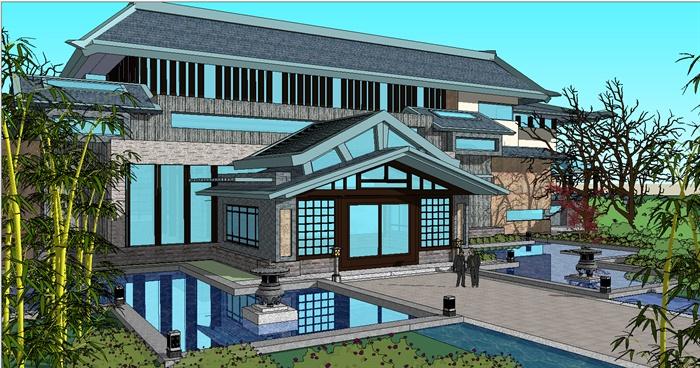 古典中式博物馆建筑设计su模型[原创]茶叶大赛设计制作包装图片